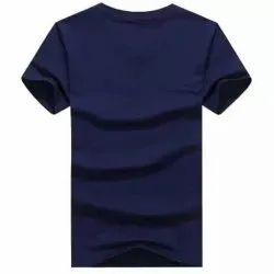 Navy Blue Half Sleeves Cotton T Shirt, Size: Large