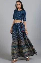 Janasya Women's Teal Rayon Crop Top With Skirt(SET279)