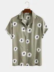 Men's Flower Printed Stitched Shirt