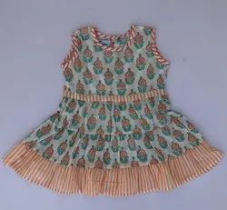 Multicolor Beautiful Stitched Block Print Soft Cotton Baby Frock Exporter