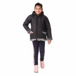 Plain Black Zipper Winter Girls Jacket, Full Sleeves