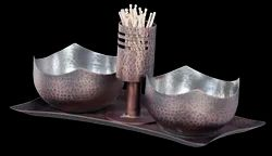 Smokey Finished/SS Hmrd Condiment Dish with Toothpick Holder