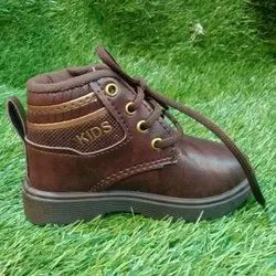 Party Wear Brown High Ankle Kids Shoes, Size: 4