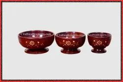 Brown Round Wooden Brass Flower Bowl Set, For Event