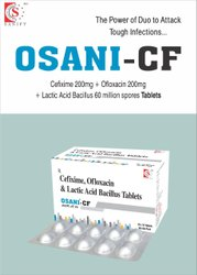 Cefixime 200mg + Ofloxacin 200mg + Lactic Acid Bacillus 60 Millions  spores