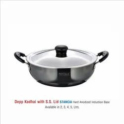 Hard Anodized Kadhai STANCIA 5 Ltr With SS Lid