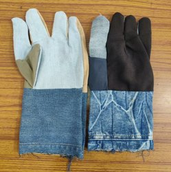 Multi-Coloured Jeans Hand Gloves
