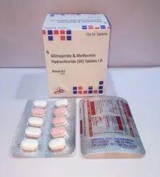 Glimpiride 1mg + Metformin 500mg Tablets