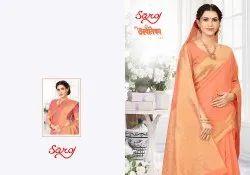 Women Linen Cotton Silk Saree
