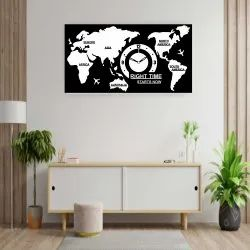 Signamio 3d Design Mdf With Acrylic World Map Wall Clock For Living Room,home And Office-dn-0018