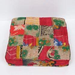 Indian Vintage Kantha Patch Floor Cushion Pouf Ottoman Floor Pillow Yoga Pillow