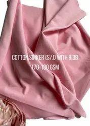 Plain Cotton Sinker Fabric, Pink