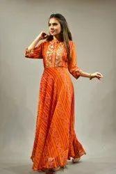 Designer Bandhani Gown With Gotta Patti Work