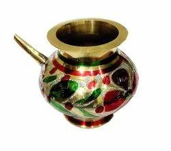 Brass Karwa Lota Minakari Coloured