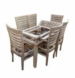Rectangular Sagwan Wood Dining Table Set Frame, For Home