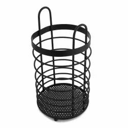 Stainless Steel Powder Coated Heavy Round Spoon Holder-Black