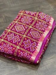 Casual Wear Printed Georgette Bandhani Saree, 6.30 Mtr, With blouse piece