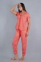 Satin Printed Ladies Pajama Nightwear Set