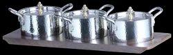 SS Hammered/Copper/Smokey 3 x 1 Mini Casserole Condiments/Chutney/Pickle Set