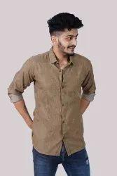 Banawati Plain Khakhi Denim Casual Shirt