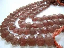 Natural Strawberry Quartz Oval Shape Briolette Beads 10-14 Mm Beads Sold Per Strand 10 Inches Long