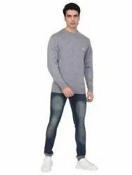 100% Acrylic Grey INDLON Plain Round Neck Mens Sweater