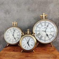 The Advitya Analog Antique Alarm Table Clock, For Home, Shape: Round