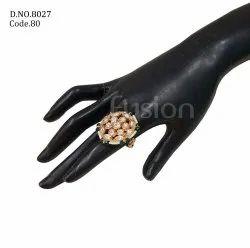 Fusion Arts Kundan Adjustable Finger Ring