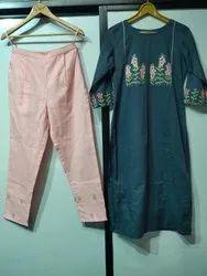Green Cotton Pant Suit