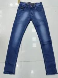 Knitted Fabric Plain Men Cotton Jeans, Waist Size: Upto 42