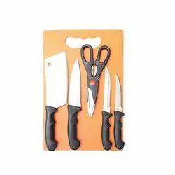 6pcs Knife Set With Plastic Chopping Board & Scissor