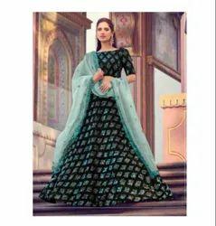 Green Color Fur Imported Fabric Fabric Latest Designer Bridal Wedding Wear Lehenga Choli