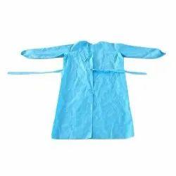Hospital Sky Blue Cotton Apron, Size: Free Size