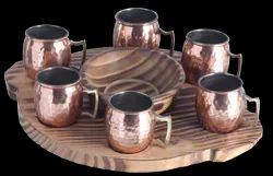 Round PW Platter With Mule Mugs