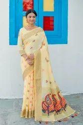 Multicolor Casual Handloom Linen Saree, 5.5 m (separate blouse piece)