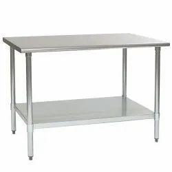 Rectangular SS Work Table, Size: 44x24x34