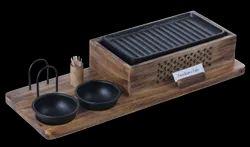 Wooden Snacks Set with Cast Al Snacks Platter