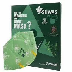 Venus V-Shwas Natural Green N95 FFP3 Ear Loop Mask With White Leaves