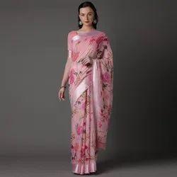 Woman Pure Linen Digital Printed Saree