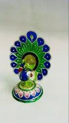Multicolor Silver Banaras Gulabi Meenakari Peacock Dancing Statue ( 2.5 Inches), For Interior Decor