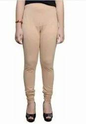Skin Color (Beige) Mid Waist Ladies Plain Leggings, Casual Wear, Slim Fit