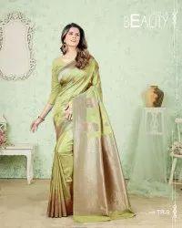 Silk India Printed Designer Sarees, 5.5 M (Separate Blouse Piece)