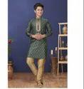 Green Color Jacquard Silk Fabric Exclusive Readymade Boy