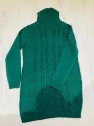 Woolen Simple Closure Dark Green High Neck Casual Wear Sweater