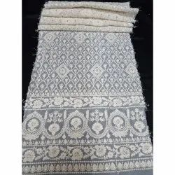 White Dyble Georgette On Big Panna Work