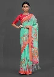 Woman Linen Digital Printed Designer Saree