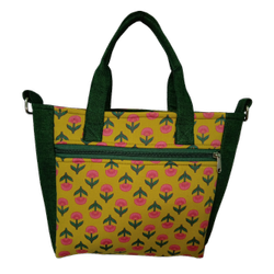 Yellow Jaipuri Block Print  With Plain Bottle Green -Pelican Handbag Cum Sling