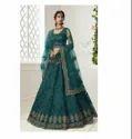 Teal Green Color Net Fabric Latest Designer Bridal Wedding Wear Net Lehenga Choli
