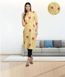 Fabclub Cambric Cotton Floral Printed Golden Yellow Straight Ladies Kurti