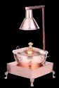 Copper Hammered Patila/Karahi Chafer with Heating Lamp & Heritage Chowki